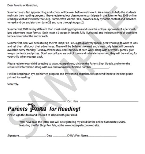 letter to parents template 8 best images of sle notification letter for parents