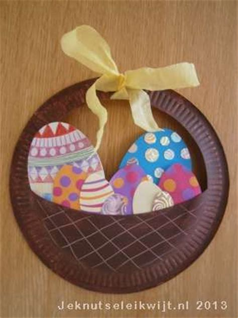 Paper Plate Basket Craft - easter egg basket craft idea for crafts and