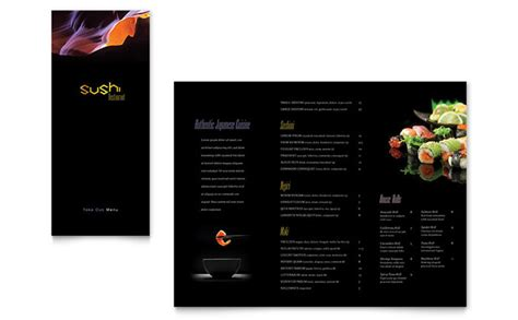restaurant brochure templates sushi restaurant take out brochure template design