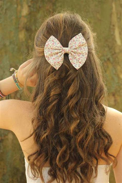 bow in her hair and rear view 30 easy hairstyles for women long hairstyles 2016 2017