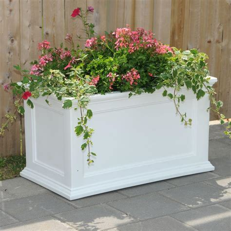 mayne fairfield 36 in x 20 in white plastic planter
