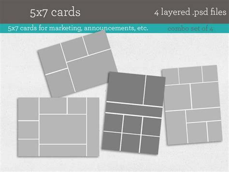5x7 Card Templates 4 Psd Template Files Instant Download 5x7 Card Templates