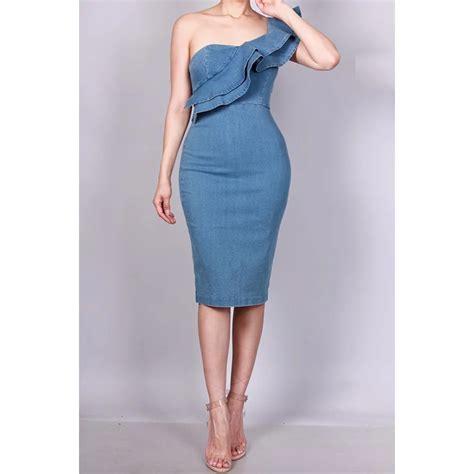 one shoulder ruffle denim dress pretty