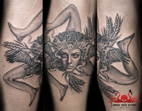 trinacria tattoo by mehdi rasouli broken tooth tattoos