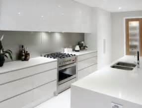 White Designer Kitchens White Cupboards No Handles Light Grey Splashback All In One Cooker House