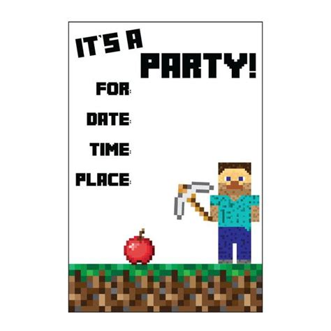 printable invitation minecraft 1000 ideas about minecraft invitations on pinterest