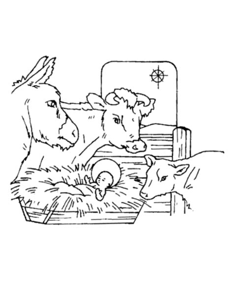 coloring pages nativity animals series manger printable