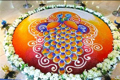 rangoli themes list unique peacock pookalam rangoli design best pookalam