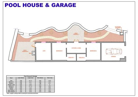 pool house floor plans with living quarters studio