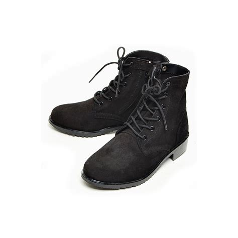s black suede eyelet lace up side zip button