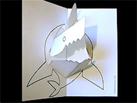 animal pop up card template paper sculpture and craft pop up shark