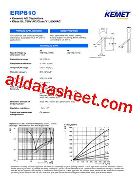kemet capacitor datasheet erp610vh4100m datasheet pdf kemet corporation