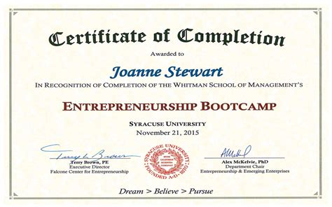 boot c certificate template congratulations entrepreneurship bootc graduate