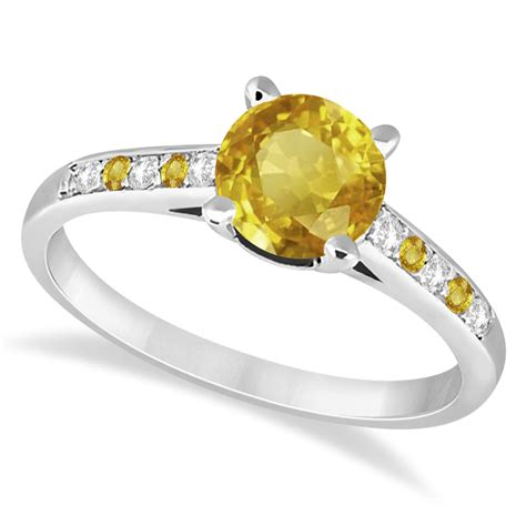 cathedral yellow sapphire engagement ring 14k