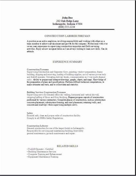 foreman template construction foreman resume occupational exles sles