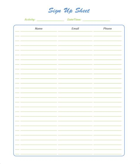 sign templates for word 21 sign up sheet templates free word excel pdf