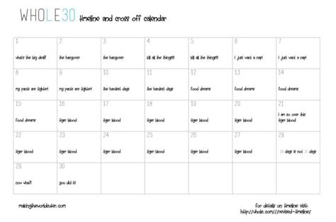 whole 30 timeline calendar