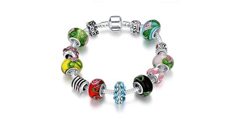 White Gold Rainbow European Inspired Charm Bracelet