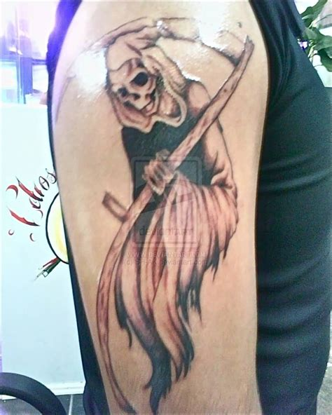 full body grim reaper tattoo grim reaper tattoos carpe diem grim reaper on full upper