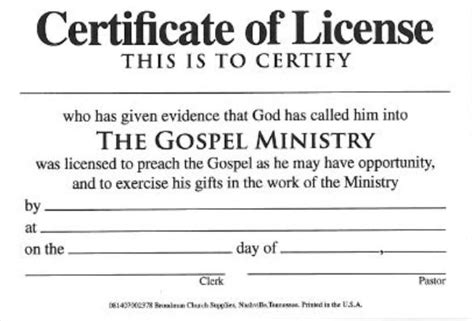 minister license id card template license for minister billfold certificate license