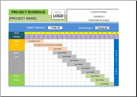 excel project schedule template free free project schedule template