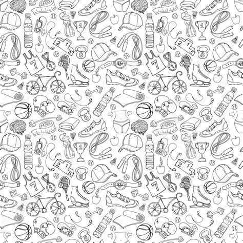 doodle pattern vector black and white sport and fitness seamless doodle pattern