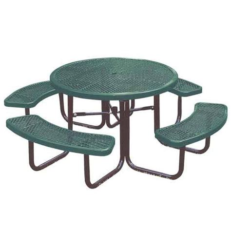 metal picnic bench 358 rdv round expanded metal outdoor picnic table by ultra