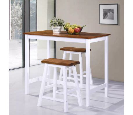 Solid Wood Bar Table And Stools by Vidaxl Bar Table And Stool Set 3 Pieces Solid Wood