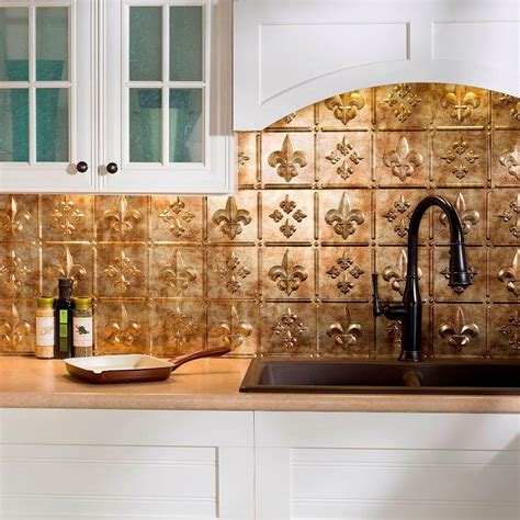 bronze tile backsplash fasade 24 in x 18 in fleur de lis pvc decorative tile backsplash in bermuda bronze b66 17