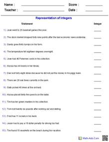 integers worksheets dynamically created integers worksheets