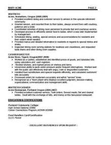 Exles Of Waitress Resume by Resumes4u Sles