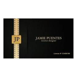 interior designer business card metallic platinum gold black interior design