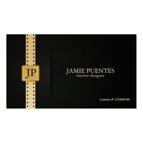 Interior Design Business Cards | metallic platinum gold black interior design double