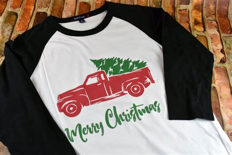 merry christmas vintage truck womens raglan shirt