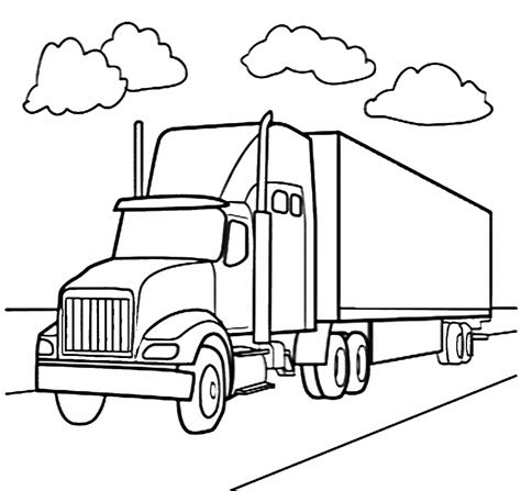 Semi Coloring Pages by Free Semi Truck Race Coloring Pages