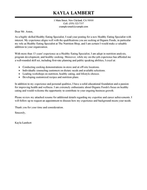 Education Services Specialist Cover Letter by Best Education Food Specialist Cover Letter Exles Livecareer