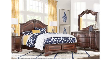 5 pc bedroom set cortinella cherry 5 pc king panel bedroom traditional