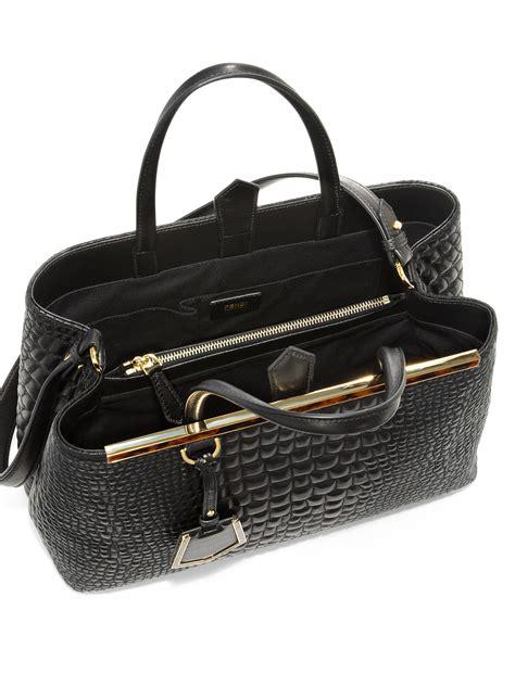 Fendi Leather Tote Set 2face 1 fendi 2jours crocembossed leather medium tote in black lyst