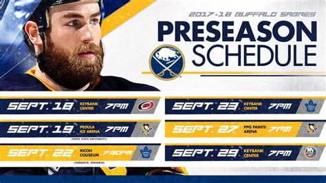 sabres announce 2017 preseason schedule nhl