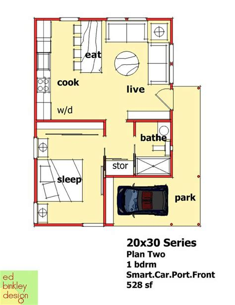 20x30 Modern 1 Bedroom With Smart Car Carport 528 Square 20 Square Home Designs