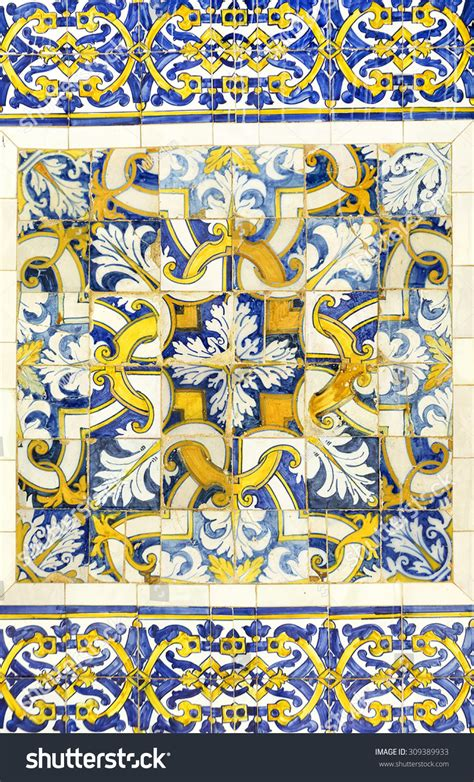 azulejo in english azulejo portuguese ceramic tiles background stock photo