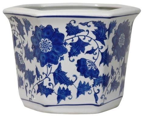 Blue And White Planter Pots by 10 Quot Floral Blue And White Porcelain Flower Pot
