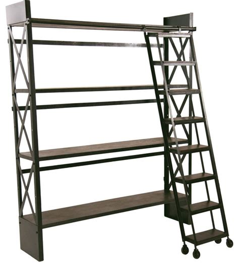 carlyle library bookshelf with rolling ladder industrial bookcases los angeles by crash