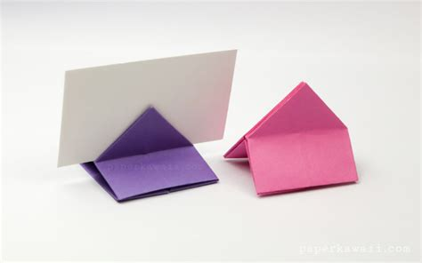 Origami Card Holder - origami house shaped card stand paper kawaii