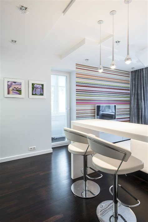 Beautiful Small Living Room Colors #2: Multicolored-stripe-accent-wall.jpg