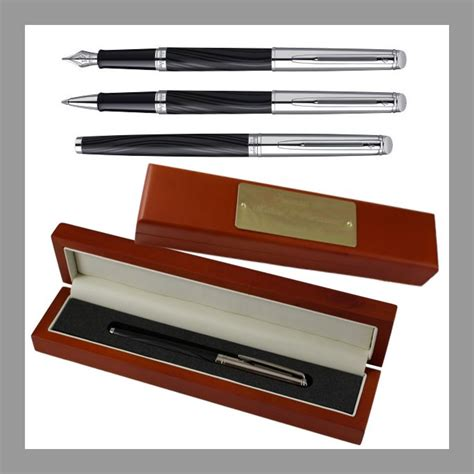 desk pen sets engraved waterman hemisphere deluxe silky black chrome trim