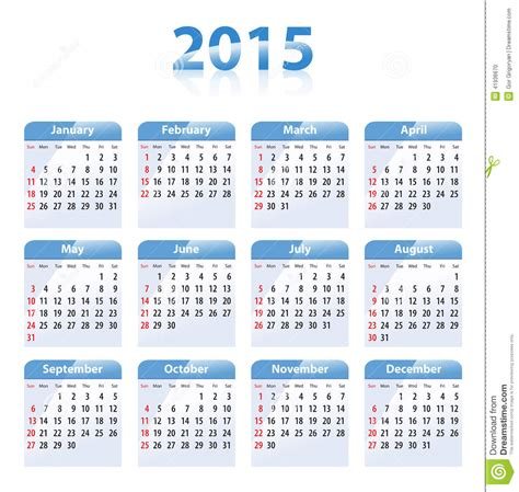 Calendrier 2016 Avec Numéro De Semaine Et Fetes Calendario Brillante Azul Para 2015 En Ingl 233 S Domingos