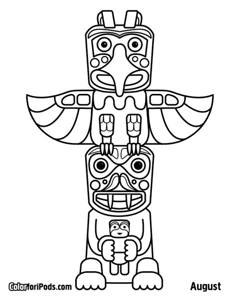 Free Coloring Pages Pi Ikea St Totem Pole Colouring Pages