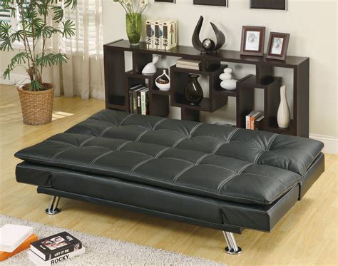 futon black 300281 sofa bed black by coaster