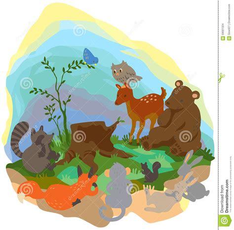 cartoon forest wilderness landscape with many wildlife